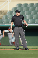 Home plate umpire Evin Johnson prior to the start of the South Atlantic League game between the Lakewood BlueClaws and the Kannapolis Intimidators at Kannapolis Intimidators Stadium on July 18, 2019 in Kannapolis, North Carolina. The Intimidators defeated the BlueClaws 7-1. (Brian Westerholt/Four Seam Images)