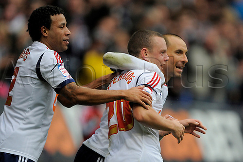 20.10.2012 Bolton, England. Jay Spearing of Bolton  celebrates equalising goal during the Championship game between Bolton Wanderers and Bristol City from the Reebok Stadium.