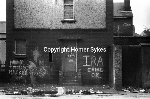 Derry Northern Ireland Londonderry. 1983. Burn out house.
