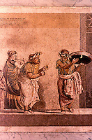 Roman Art:  Mosaic--Dioskurides di Samo.  Musici ambulanti.  National Museum, Naples.