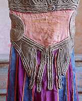 "Panels of thickly embroidered silver piping adorn the back of one of the vintage costumes designed for the Ballet ""Thamar"" in 1912"