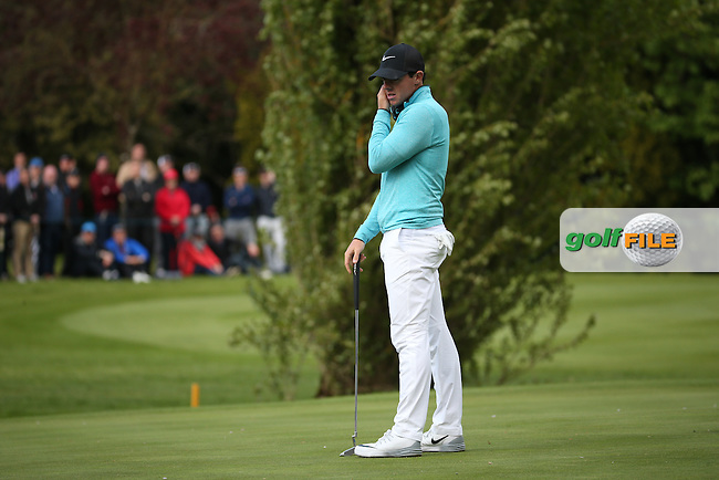 Rory McIlroy (NIR) putting on the 16th during Round One of the 2016 Dubai Duty Free Irish Open Hosted by The Rory Foundation which is played at the K Club Golf Resort, Straffan, Co. Kildare, Ireland. 19/05/2016. Picture Golffile | David Lloyd.<br /> <br /> All photo usage must display a mandatory copyright credit as: &copy; Golffile | David Lloyd.