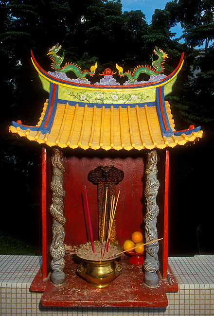 Altar with burning incense at Kong Meng San Phor Kark See Temple complex, Singapore, Southeast Asia, Asia