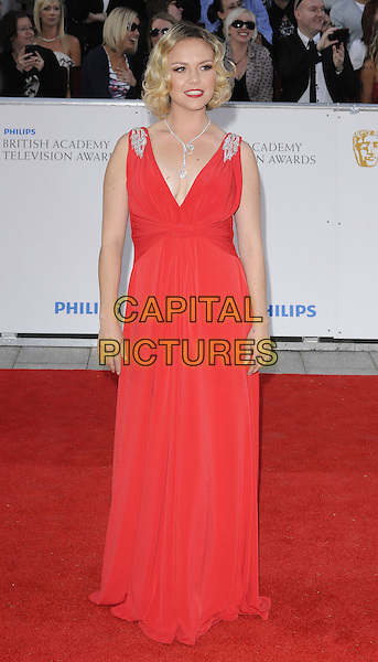 CHARLIE BROOKS.The Philips British Academy Television Awards, Grosvenor house Hotel, Park Lane, London, England, UK, May 22nd 2011..arrivals TV Baftas Bafta full length red dress maxi cleavage silver shoulders sleeveless .CAP/CAN.©Can Nguyen/Capital Pictures.