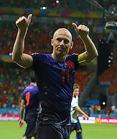 Arjen Robben of Netherlands celebrates at full time