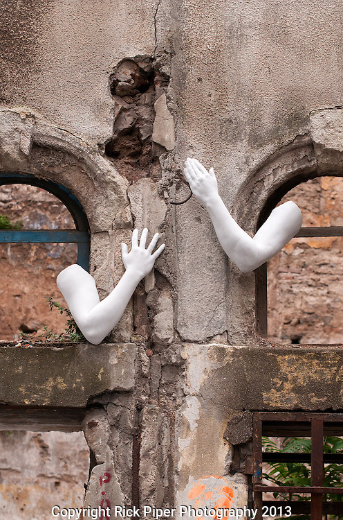Every Hand Goes Searching For Its Partner 01 - The derelict wall of lost limbs, backstreets of Galata, Beyoglu, Istanbul, Turkey