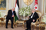 Tunisian President Beji Caid Essebsi meets with Palestinian President Mahmoud Abbas at Carthage Palace, near Tunis, on July 6, 2017. Abbas is on 2 day official visit to Tunisia. Photo by Thaer Ganaim
