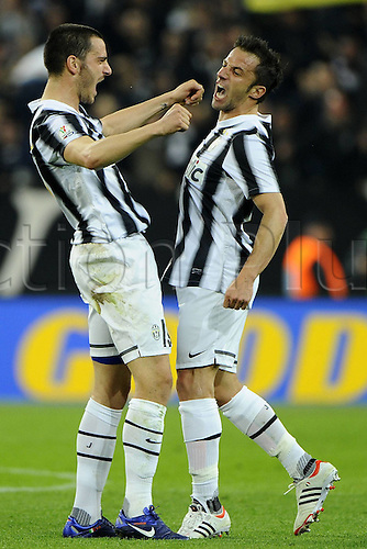 20.03.2012. Turin, Italy.  Coppa Italia versus Juventus Milan. Phtoo shows the goal celebrations from  Alessandro DEL Piero  The game ended in a 2-2 draw with Juventus going through to the next round 4-3 on aggregate.