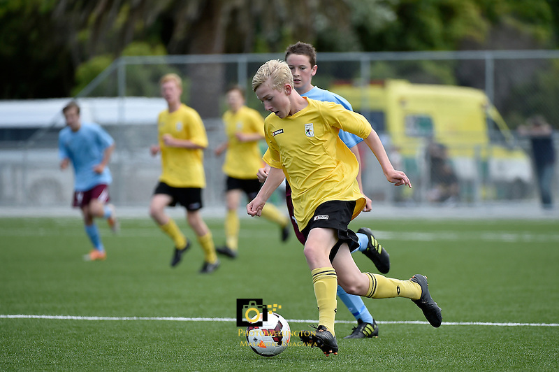 Action from the Football National Age-Group Tournament at Petone Memorial Park, Lower Hutt, Wellington, New Zealand on Sunday 14December 2014. <br /> Photo by Masanori Udagawa. <br /> www.photowellington.photoshelter.com.