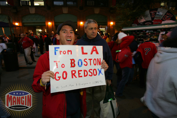 Fans outside Fenway Park. Baseball: 2004 World Series. St. Louis Cardinals vs Boston Red Sox. Boston, MA 10/23/2004 MANDATORY CREDIT: Brad Mangin/MLB Photos