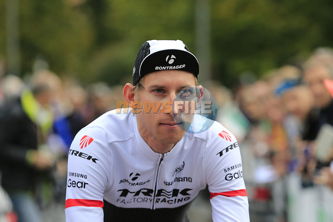 Bauke Mollema (NED) Trek Factory Racing arrives at sign on for the start of the last classic of the season Il Lombardia 2015 running 245km from Bergamo to Como, Italy. 4th October 2015.<br /> Picture: Eoin Clarke | Newsfile