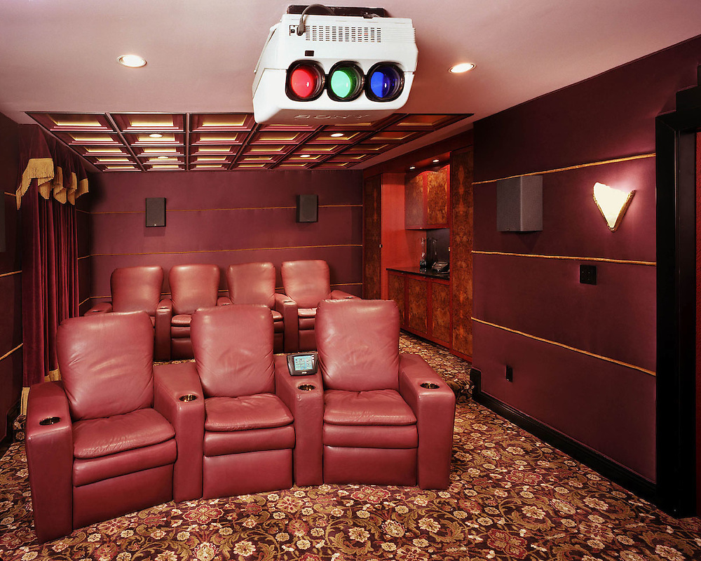 Red Themed Theater With Detailed Ceiling
