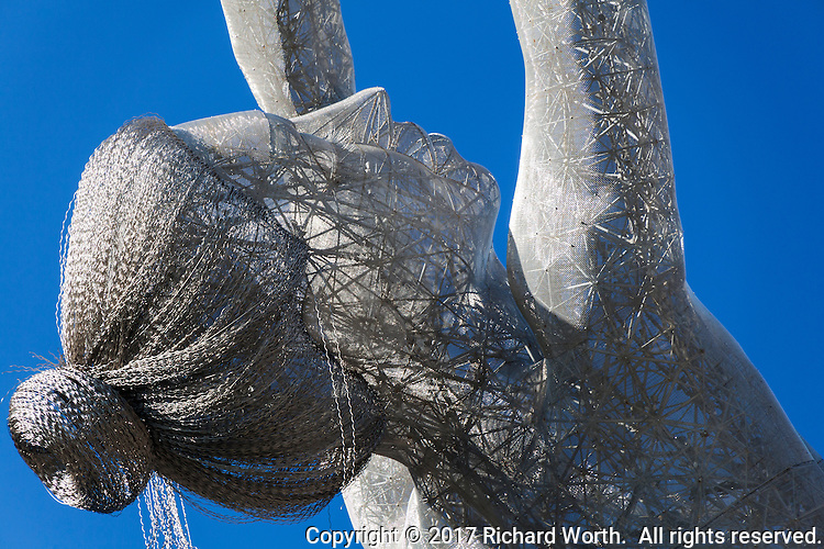 "Close-up of the head on the  55-foot-tall ""Truth is Beauty"" sculpture at the San Leandro Tech Center"