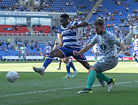Blackburn Rovers' Adam Armstrong (right) crosses the ball despite the attentions of Reading's Andy Yiadom (left) <br /> <br /> Photographer David Horton/CameraSport<br /> <br /> The EFL Sky Bet Championship - Reading v Blackburn Rovers - Saturday 21st September 2019 - Madejski Stadium - Reading<br /> <br /> World Copyright © 2019 CameraSport. All rights reserved. 43 Linden Ave. Countesthorpe. Leicester. England. LE8 5PG - Tel: +44 (0) 116 277 4147 - admin@camerasport.com - www.camerasport.com
