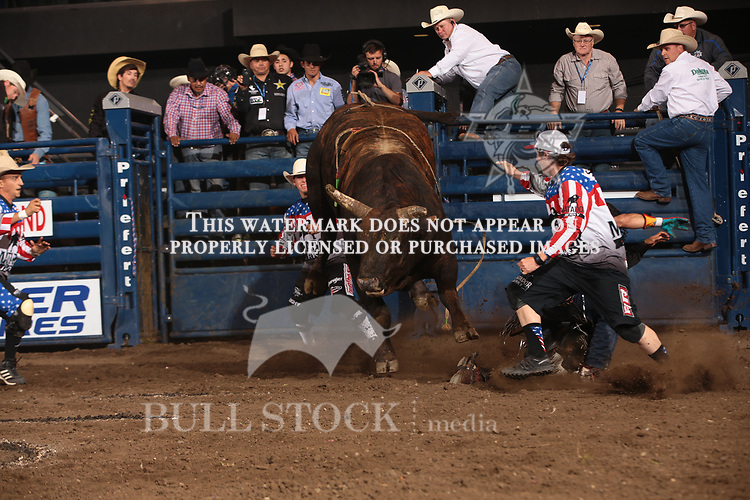 Rubens Barbosa attempts to ride Berger Bucking Bulls's Son of Sioux during the second round of the Bismarck Real Time Pain Relief Velocity tour PBR. Photo by Andy Watson