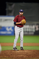Mahoning Valley Scrappers relief pitcher Zack Draper (32) gets ready to deliver a pitch during a game against the Batavia Muckdogs on September 5, 2017 at Dwyer Stadium in Batavia, New York.  Mahoning Valley defeated Batavia 4-3.  (Mike Janes/Four Seam Images)