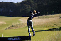 Keith Bowman (AM) on the 11th tee during Round 1 of the 2015 Alfred Dunhill Links Championship at Kingsbarns in Scotland on 1/10/15.<br /> Picture: Thos Caffrey | Golffile