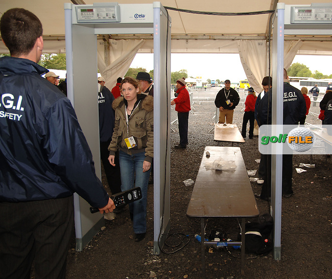 20th September, 2006. Dublin Ireland. Crowds attend the second practise day of the 2006 Ryder Cup at the K Club. Mairead Cullinane from Knocklion in Dublin goes through security at the above..Photo: Barry Cronin/ Newsfile..