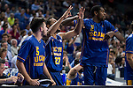 UCAM Murcia's players celebrating a point during the first match of the playoff at Barclaycard Center in Madrid. May 27, 2016. (ALTERPHOTOS/BorjaB.Hojas)