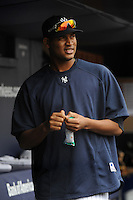 New York Yankees pitcher Ivan Nova #47 during a game against the Baltimore Orioles at Yankee Stadium on September 5, 2011 in Bronx, NY.  Yankees defeated Orioles 11-10.  Tomasso DeRosa/Four Seam Images