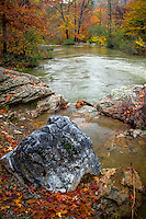 The Little Missouri River in the Ouachita National Forrest in Arkansas after a heavy rain during the peak of fall color.