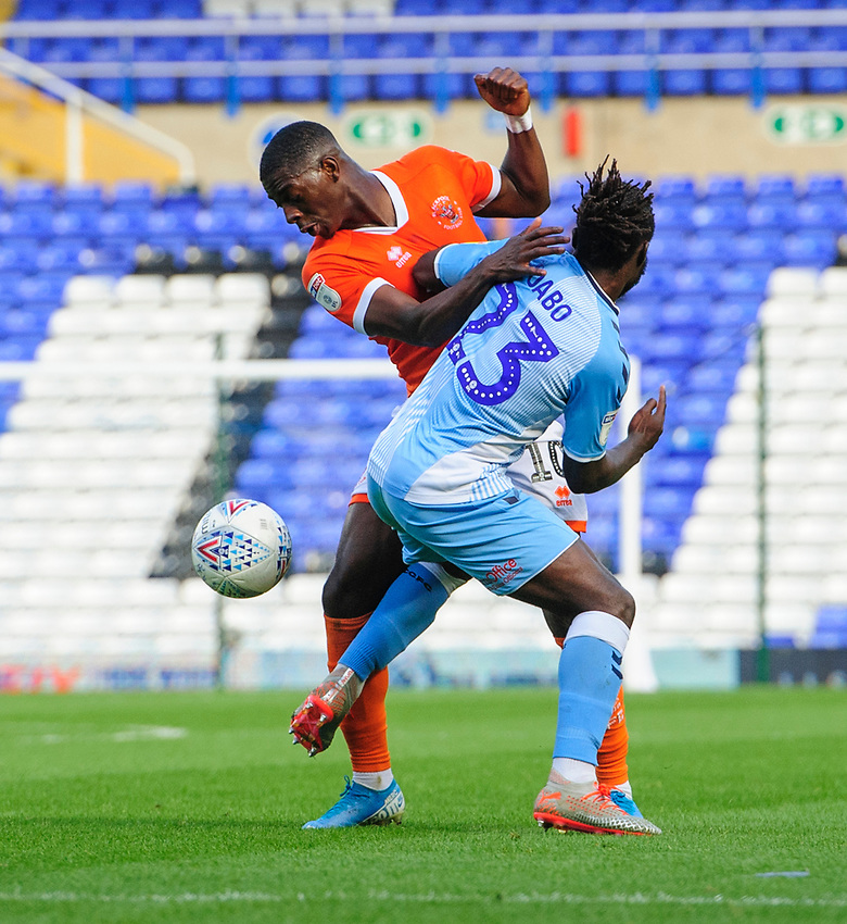 Blackpool's Sullay Kaikai vies for possession with Coventry City's Fankaty Dabo<br /> <br /> Photographer Chris Vaughan/CameraSport<br /> <br /> The EFL Sky Bet League One - Coventry City v Blackpool - Saturday 7th September 2019 - St Andrew's - Birmingham<br /> <br /> World Copyright © 2019 CameraSport. All rights reserved. 43 Linden Ave. Countesthorpe. Leicester. England. LE8 5PG - Tel: +44 (0) 116 277 4147 - admin@camerasport.com - www.camerasport.com