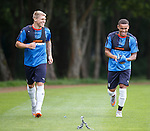 Martyn Waghorn and James Tavernier training this morning