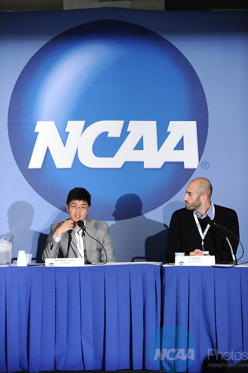 12 JAN 2012: The NCAA Educational Session, Building and Engaging an Online Community at the 2012 NCAA Convention held at the JW Marriott and Indianapolis Convention Center in Indianapolis, IN.  Stephen Nowland/NCAA Photos.Pictured: Marcus Jung, Omid Ashtari