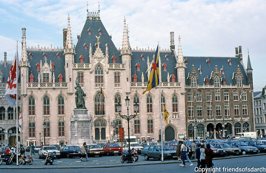 Bruges: Post Office (1887, in Gothic style), in Markt.  Photo '87.