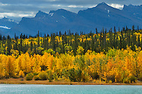 Canadian Rockies and Abraham Lake in autumn<br /> David Thompson Hwy<br /> Alberta<br /> Canada<br /> David Thompson Hwy<br /> Alberta<br /> Canada