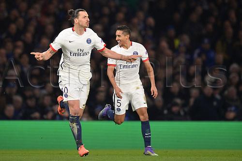 09.03.2016. Stamford Bridge, London, England. Champions League. Chelsea versus Paris Saint Germain.  ZLATAN IBRAHIMOVIC (psg) celebrates his winning goal in the 67th minute