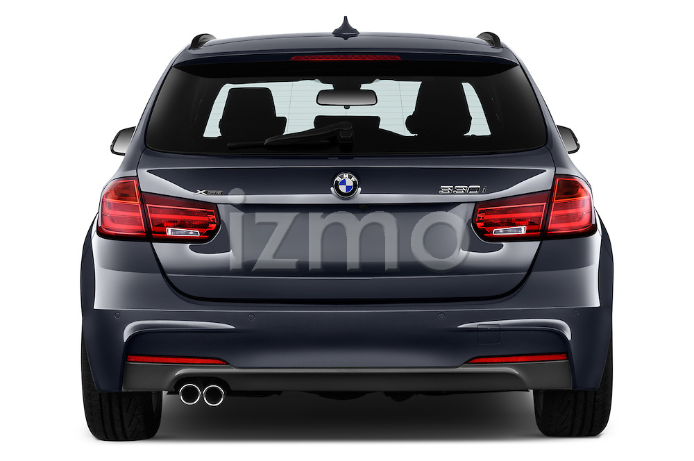 Straight rear view of 2017 BMW 3-Series 328d-Sports-Wagon 5 Door Wagon Rear View  stock images
