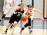 NAUGATUCK,  CT-011820JS01- Naugatuck's Hailey Russell (2) is fouled by Shepaug's Lucy Puskas (21) while they both go for a loose ball during their non-league game Saturday at Naugatuck High School. <br /> Jim Shannon Republican-American