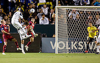 LA Galaxy forward Edson Buddle (14) heads a ball home scoring the first goal of the game off an assist from Landon Donovan (10). The LA Galaxy defeated Real Salt Lake 2-1 at Home Depot Center stadium in Carson, California on Saturday April 17, 2010.  .