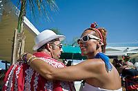 Senigallia, Agosto 2013. Una coppia vestita stile anni 60 in una spiaggia di Senigallia durante il Festival Summer Jamboree.