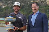 Bubba Watson (USA) with Dell CEO Michael Dell, holds The Walter Hagen Cup for winning the World Golf Championships, Dell Match Play, Austin Country Club, Austin, Texas. 3/25/2018.<br /> Picture: Golffile | Ken Murray<br /> <br /> <br /> All photo usage must carry mandatory copyright credit (© Golffile | Ken Murray)
