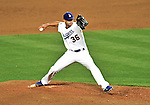 23 July 2011: Los Angeles Dodgers pitcher Blake Hawksworth on the mound against the Washington Nationals at Dodger Stadium in Los Angeles, California. The Dodgers rallied to defeat the Nationals 7-6 on a Rafael Furcal walk-off, RBI double in the bottom of the 9th inning. Mandatory Credit: Ed Wolfstein Photo