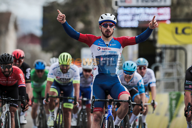 Niccolo Bonifazio (ITA) Total Direct Energie wins Stage 5 of the 78th edition of Paris-Nice 2020, running 227km from Gannat to La Cote-Saint-Andre, France. 12th March 2020.<br /> Picture: ASO/Fabien Boukla | Cyclefile<br /> All photos usage must carry mandatory copyright credit (© Cyclefile | ASO/Fabien Boukla)