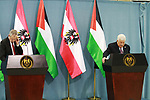 Palestinian President Mahmoud Abbas holds a press conference with his Austrian counterpart Alexander Van der Bellen following a meeting at Abass's headquarter in the West Bank city of Ramallah on February 5, 2019. Photo by Ahmad Arouri