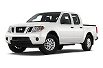 Stock pictures of low aggressive front three quarter view of a 2019 Nissan Frontier SV 4 Door Pick Up