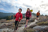 USA, Oregon, Ashland, 6 year old Christian Rego aka Buddy Backpacker hikes a section of the Pacific Crest Trail near Ashland Oregon with his mom Andrea Rego and Dion, Christian will be the youngest hiker to complete the Pacific Crest Trail in a single season