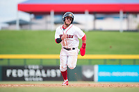 Mesa Solar Sox second baseman Esteban Quiroz (2), of the Boston Red Sox organization, runs to third base during an Arizona Fall League game against the Peoria Javelinas at Sloan Park on October 11, 2018 in Mesa, Arizona. Mesa defeated Peoria 10-9. (Zachary Lucy/Four Seam Images)