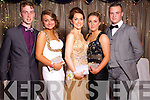 Sean O'Donoghue, Melissa O'Connell, Rebecca Lyons, Niamh O'Sullivan and Conor O'Shea at the Castleisland Presentation debs ball at the Earl of Desmond hotel on Saturday night.