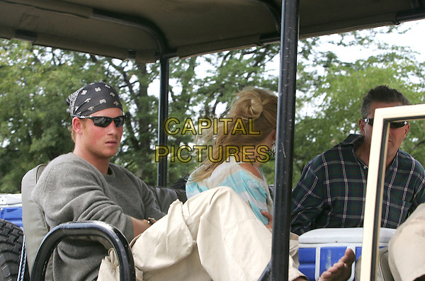PRINCE HARRY & CHELSY DAVY.Took an open top jeep on safari whilst visiting Moremi Game Reserve near Maun, Botswana, Africa, .April 25th 2005..half length sunglasses bandanna bandana girlfriend royal.Ref: TEB.www.capitalpictures.com.sales@capitalpictures.com.©Terry Bradford/Capital Pictures.