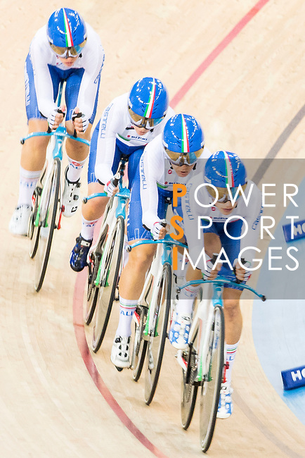The team of Italy with Elisa Balsamo, Simona Frapporti, Francesca Pattaro and Silvia Valsechi competes in the Women's Team Pursuit - 1st Round as part of the 2017 UCI Track Cycling World Championships on 13 April 2017, in Hong Kong Velodrome, Hong Kong, China. Photo by Chris Wong / Power Sport Images