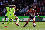 Atletico de Madrid's Elena Linari and FC Barcelona's Alexia Putellas during Liga Iberdrola match between Atletico de Madrid and FC Barcelona at Wanda Metropolitano Stadium in Madrid, Spain. March 17, 2019. (ALTERPHOTOS/A. Perez Meca)