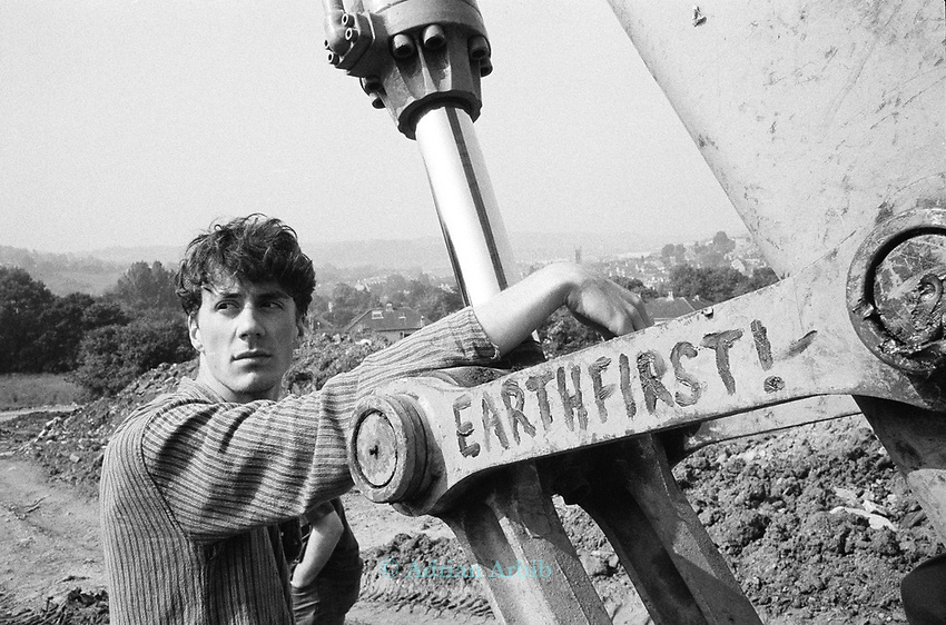Author Paul Kingsnorth at the Solsbury Hill road protest, Bath,UK 1995