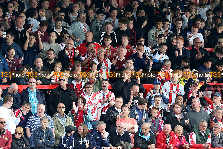 Stevenage fans urge on their team during Stevenage vs Mansfield Town, Sky Bet EFL League 2 Football at the Lamex Stadium on 22nd April 2017