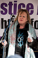 Deborah Coles (Director of INQUEST). <br /> <br /> London, 23/02/2015. Today, the &quot;Justice Alliance&quot; and their Chris Grayling puppet dresses as King John Lackland arrived in Westminster for the last day of a tree-day march called &quot;Relay For Rights&quot; from Runnymede, birth place of the Magna Carta, to Old Palace Yard, where they held the &quot;Not the Global Law Summit&quot; rally. At the end of the demonstration outside the Houses of Parliament, protesters marched peacefully to the Queen Elizabeth II Centre where the &quot;Global Law Summit&quot; was taking place. From the organisers Facebook page: &lt;&lt; [&hellip;] February 23rd 2015 is the 799th and 8 month anniversary of the signing of the Magna Carta. The Government is using this non-anniversary to host the Global Law Summit, &quot;a unique opportunity to explore what the future holds for global business and the rule of law&quot;. This back-slapping corporate jamboree, partly funded by the Ministry of Justice, comes at a time when the same department has waged a slash-and-burn campaign on advice and representation, leaving people without deep pockets unable to get justice in court. Magna Carta represents the oldest historical commitment to equal access to justice in Britain. We are here to remind the Government of its duty to provide access to justice for all, and not merely to the rich. [&hellip;]&gt;&gt;<br /> <br /> For more information please click here: http://bit.ly/1G6aHZx