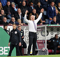 Burnley manager Sean Dyche reacts in his technical area<br /> <br /> Photographer Rich Linley/CameraSport<br /> <br /> The Premier League - Burnley v Everton - Saturday 5th October 2019 - Turf Moor - Burnley<br /> <br /> World Copyright © 2019 CameraSport. All rights reserved. 43 Linden Ave. Countesthorpe. Leicester. England. LE8 5PG - Tel: +44 (0) 116 277 4147 - admin@camerasport.com - www.camerasport.com